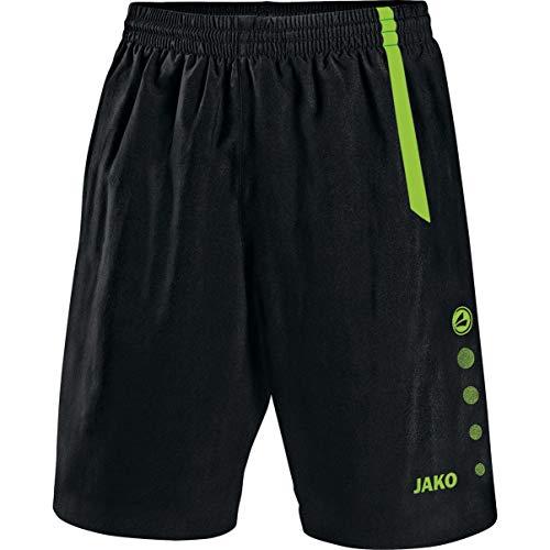 Jako Herren Fußballsporthosen Sporthose Turin, Schwarz/Neongrün, XXL, 4462