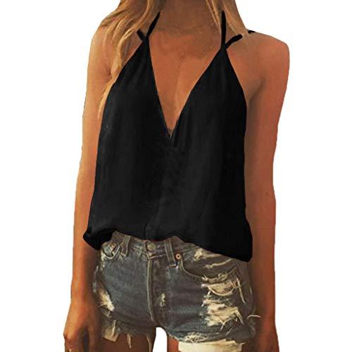 Topkal Top Sexy sin mangas, cuello en V de tirantes macizos de espagueti, camiseta para mujer, verano, elegante, túnica, primavera, Causal Tops moda 2019 Negro  XL