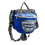 HaiQianXin Bolso de la Silla de Montar de la Mochila de Las alforjas del Perro del Animal doméstico del poliéster para Caminar Que acampa del Viaje (Color : Azul, Size : S)