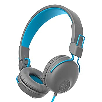 JLab Audio Studio On-Ear Headphones | Wired Headphones | Tangle Free Cord | Ultra-Plush Faux Leather with Cloud Foam Cushions | 40mm Neodymium Drivers with C3 Sound | Gray/Blue