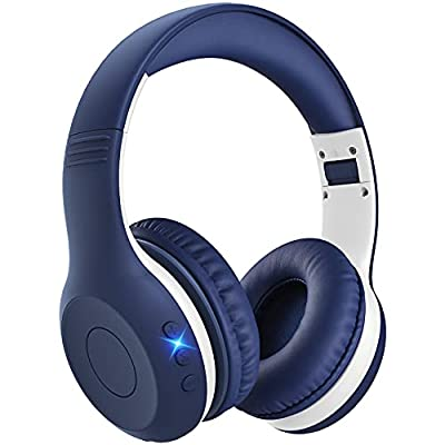 Kids Headphones, Bluetooth Headphones with Mic for Kids, Boy, Girl, 15-Hour Playtime, Volume Limited 94dB, Over Ear, Wireless Headphones for iPad, Phone, Tablet, Chromebook(Blue) from Pahasur