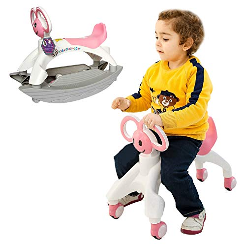 Barakara 2 in 1 Rocking Car Rocker and Ride On Toy Ride Rocking Horse with Flashing Wheels Removable Ride On Horse for Baby Toddler Kids Children Boys & Girls 1-8Y