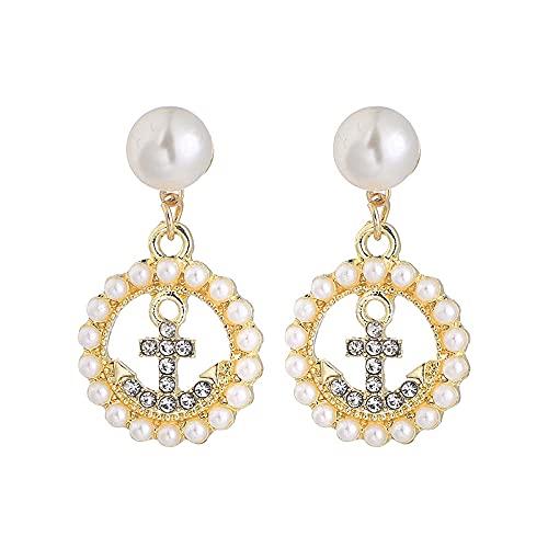 S925 aguja de plata pendientes de perlas dulces temperamento femenino pendientes de diamantes de imitación simples pendientes circulares