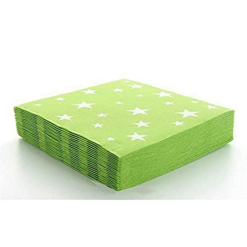 Fetez Lot de 20 Serviettes en Papier Ouate de Cellulose Vert Clair avec Etoiles Blanches, 33x 33cm, 2 Plis