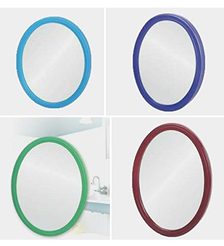 90 Degree 10×13 inch Oval Shape Make Up/Beauty/Bathroom/Grooming Wall Hanging Mirror (3mm) Multicolor