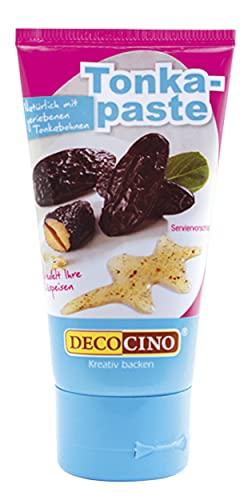 Decocino Tonkapaste g vegane natürliche Aromapaste mit geriebenen Tonkabohnen – zum Backen für Kuchen Cremes Toppings und Desserts, Vanille, 50 gramm