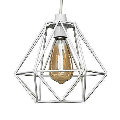 Moderna Pantalla Lampara Techo - Estilo Jaula Geométrica Colgante - Blanco Metal - Iluminación Interior