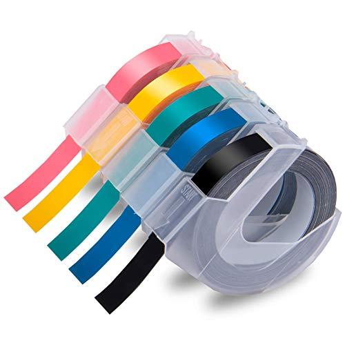 Xemax Compatibile Plastica Nastro 9mm x 3m Sostituzione per Dymo 3D Adesiva per Goffratura Bianco su Nero/Lago Blu Verde/Rosa/Giallo Nastri per Dymo Motex E-101 E-303, Dymo Junior Omega 1540, 5 Pacco