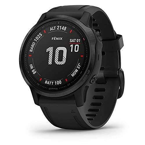 Garmin fēnix 6S Pro - Reloj GPS multideporte con mapas, música, frecuencia cardíaca y sensores, Negro con correa negra