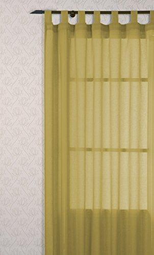 atenas home textile Pareja de Visillos de salón con Trabillas, 140 x 265 cm, Color Amarillo
