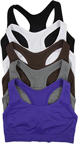 ToBeInStyle Women's Pack of 6 Double Layer Racerback Sports Bras - L/XL