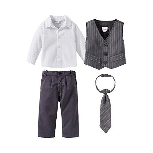Bornino Festliche Mode-Set (4-TLG.) für Jungen - Anzug mit Weste, Hemd, elastischer Hose & weitenverstellbarer Krawatte - grau/weiß/anthrazit
