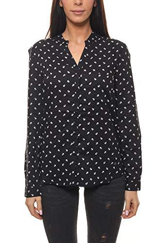 AJC Bluse schicke Damen Langarm-Bluse mit Totenkopf-Muster Freizeit-Bluse Hemd-Bluse Schwarz/Weiß, Größe:38