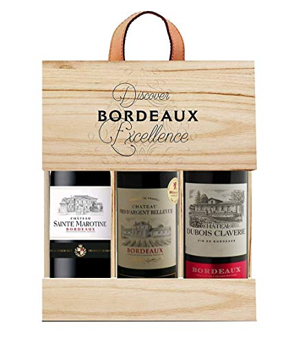 Selection Bordeaux Wein Probierpaket mit Goldmedaille in Holzkiste Rotwein (3 x 0.75 l)