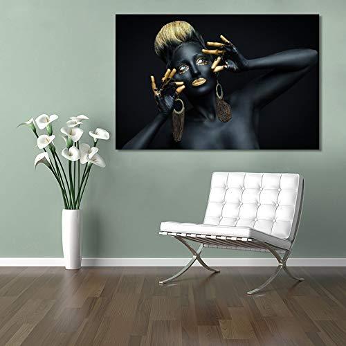 adgkitb canvas Afrikanische Frau Indische Schwarz Und Golded Öl Auf Leinwand Poster Und Drucke Wandkunst Bild Für Wohnzimmer Wohnkultur 30x45 cm KEIN Rahmen