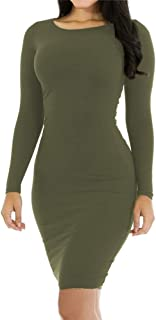 Best long sleeve olive green bodycon dress Reviews