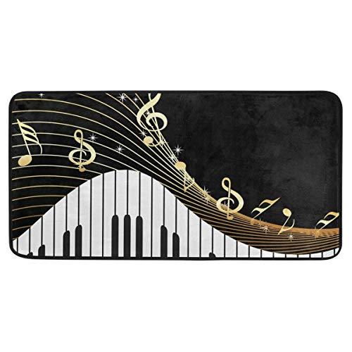 Bardic anti-slip deurmat Piano Keyboard Muziek Opmerking Goud Deurmat Machine Wasbare Slaapkamer Mat Voor Wonen Dineren Kamer Slaapkamer Keuken,50.8x99cm