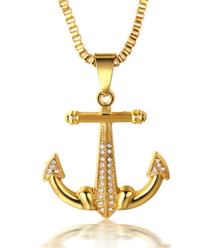 Halukakah  Vela  Uomo Maschile 18K 18 Carati Placcato Oro Reale Ancora Pendente Diamanti Artificiali Collana con Catena a Corda Gratuita 30'