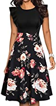 YATHON Women's Vintage Ruffle Floral Flared A Line Swing Casual Cocktail Party Dresses (S, YT001-Red Floral P2)