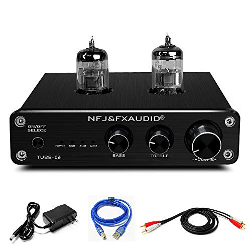 FX AUDIO Home Audio 6N3 Tube Preamp—Mini Hi-Fi Stereo Bass&Treble Control Vacuum Tube Preamplifier with DC12V Power Supply(Not Phono Preamp) (Black)