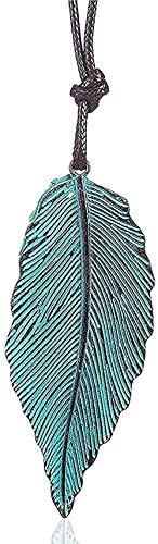 BEISUOSIBYW Co.,Ltd Collar Regalos Moda Hoja Verde Colgante Collar Collar Largo para Mujer Joyas Colgantes Joyas Collares Colgantes Suspensión Gargantillas Cadena de Cuerda