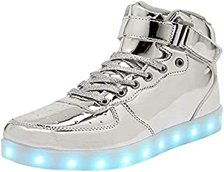 WONZOM FASHION High Top LED Light Up Shoes USB Charging...