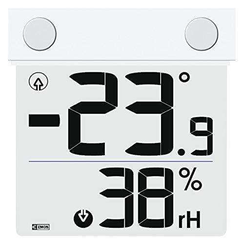 EMOS E1278 Drahtloses Digitales Fenster-Thermometer und Hygrometer, Außenthermometer, transparent, batteriebetrieben, Weiß, 27 x 95 x 105 mm