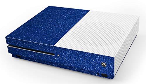 atFoliX Skin kompatibel mit Microsoft Xbox One S, Designfolie Sticker (FX-Glitter-Blue-Danube), Reflektierende Glitzerfolie