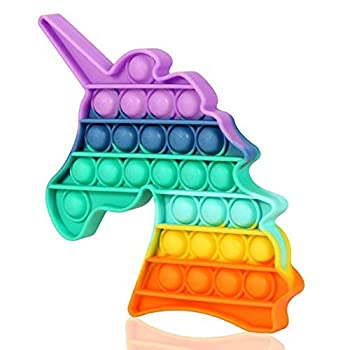 Mr Rex Rainbow Unicorn Fidget Toy with Popping Sounds Push Bubbles Game Toy BPA Free for Kids Teens Silicone Autism Stress Tool Sensory Toy for Anxiety Relief  Rainbow Unicorn   Rainbow Unicorn