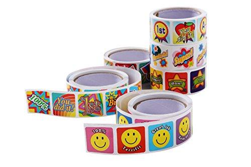 Juvale Motivationsaufkleber (Set, 1260 Sticker) - Verschiedene Motive mit Sprüchen auf Englisch - Fleißaufkleber, Belohnungsaufkleber für Lehrer, Eltern, Kinder - 6 Rollen, Bunt, 3,2 x 3,2 cm