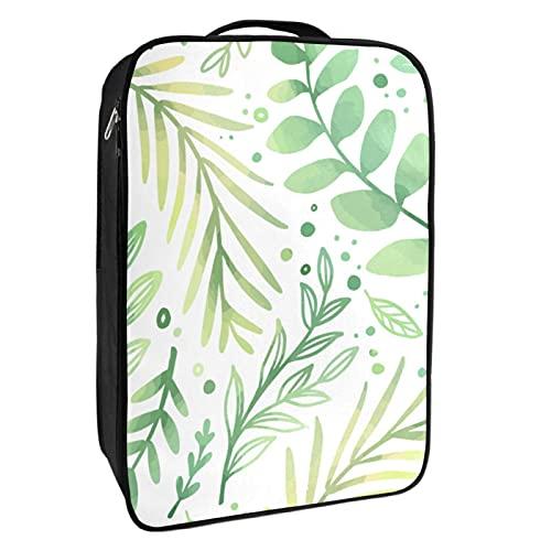 Scatola portaoggetti per scarpe da viaggio e uso quotidiano, con foglie verdi disegnate a mano, organizer portatile impermeabile fino a 12 metri con doppia cerniera 4 tasche