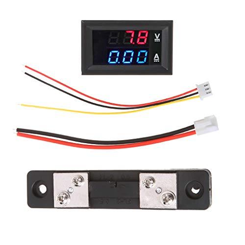 A0127 Voltmeter DC, 0 – 100 V/50 A, Dual-LED-Anzeige, Stromanzeige, Spannungsprüfer, Digitalanzeige 48 x 29 x 22 mm B (rouge + bleu)