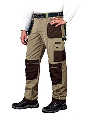 Leber&Hollman Arbeitshose für Herren - Sicherheitshose für Männer - mit Taschen für Kniepolster - Bundhose - Berufsbekleidung - Beige/Braun/Schwarz - Größe 48