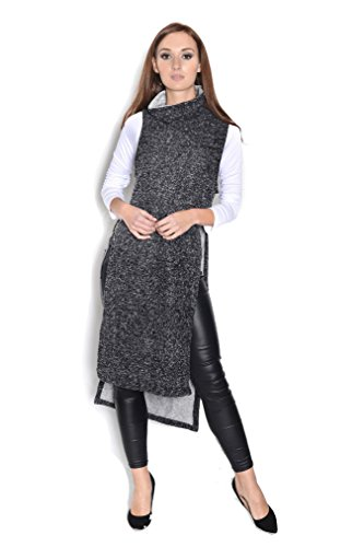 AE Damen Strick Pullover Ärmellos Rollkragen Sweater Longshirt mit Schlitz, 0030S Grafit M