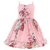 Flofallzique Summer Little Girls Dress Vintage Floral Kids Tea Party Sundress for 1-10 Years Old(5,Coral)