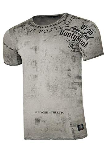Rusty Neal Herren T-Shirt Rundhals Printed Tee Shirt Kurzarm Regular Fit Stretch 100% Baumwolle S M L XL XXL 3XL 244, Farbe:Anthrazit, Größe:3XL