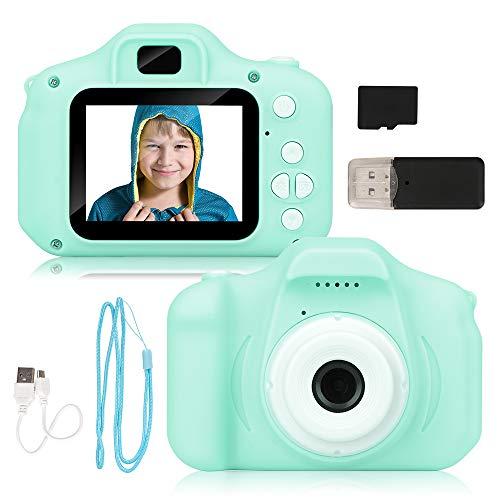 Miunana Cámara de Fotos para Niños con 32GB Tarjeta SD y Acollador, 2 Objetivos Selfie 8MP Cámara Digital 1080P HD Video, Juguetes Niña 3-10 Años, Regalo Niña Cumpleaños Infantil (Verde)