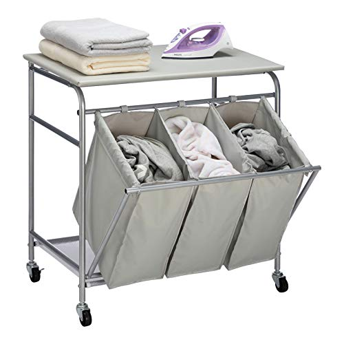 HollyHOME Laundry Sorter Cart with Unopenable Ironing Board with Side Pull 3-Bag Heavy-Duty Laundry Hamper and 4 Wheels Light Grey