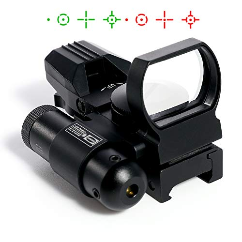 Pinty Red Dot Sight with Integrated Red Laser Sight, Reflex Sight Optics 4 Pattern Reticle