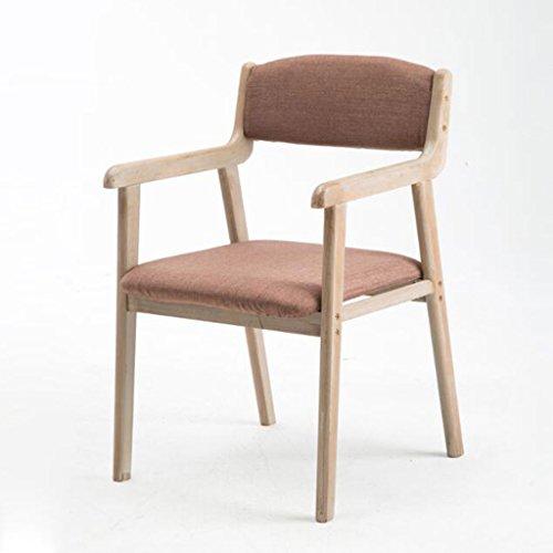 ZJ Estable Moderno Simple Vintage Dining Chair Silla de Madera Maciza Restaurante Apoyabrazos Ocasional Sillón Adulto Computer Desk Chair Único (Color : F)