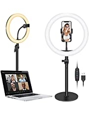 """Neewer Tabletop 10"""" USB LED Ring Light, Video Conference Lighting for Zoom Call/Remote Operation/Self-Extrusion / YouTub/TikTok/Live Stream, 3200K-5600K/3 Light Modes/Phone Holder (Black)"""
