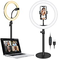 """Neewer Tabletop 10"""" USB LED Ring Light, Video Conference Lighting for Zoom Call/Remote Operation/Self-Extrusion /..."""