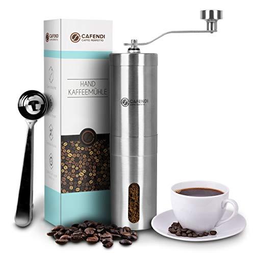 Cafendi Kaffeemühle Manuell | Edelstahl Handkaffeemühle - Robustes Mahlwerk aus Keramik | Espressomühle für Küche, Camping und Outdoor | Mit E-Book für perfekten Kaffegenuss