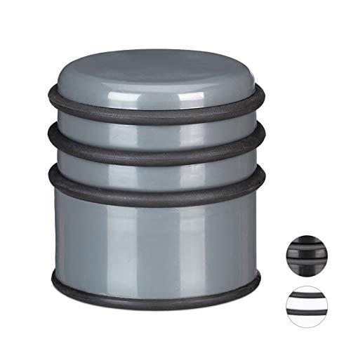 Relaxdays 1 x Türstopper für den Boden, Schwerer Türpuffer, für Türen & Fenster bei Luftzug, 3 Gummiringe, ∅ 7 cm, dunkelgrau
