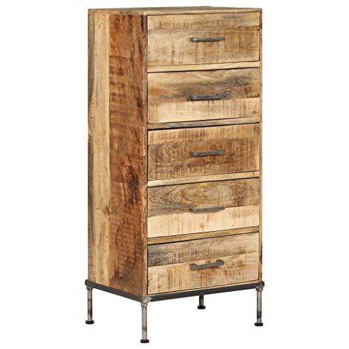 Festnight- Holz Kommode Vintage Sideboard mit 5 Schubladen, Schubladenschrank aus Mango-Massivholz für Küche Schlafzimmer Esszimmer Wohnzimmer - 45 x 35 x 106 cm