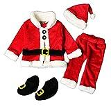 serpent chat Costume de Noël Enfants Bébé Garçon Fille Père Noël Tops+Pantalon+Chapeau+Chaussures Vêtements de Noël -  Rouge -  90 cm(12-24 mois)