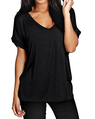 ZANZEA Camiseta Holgada de Manga Corta para Mujer Cuello en V Batwing Liso Tops Lisos Verano Casual Blusa Suelta Camisa Talla Grande 01-Negro 2XL