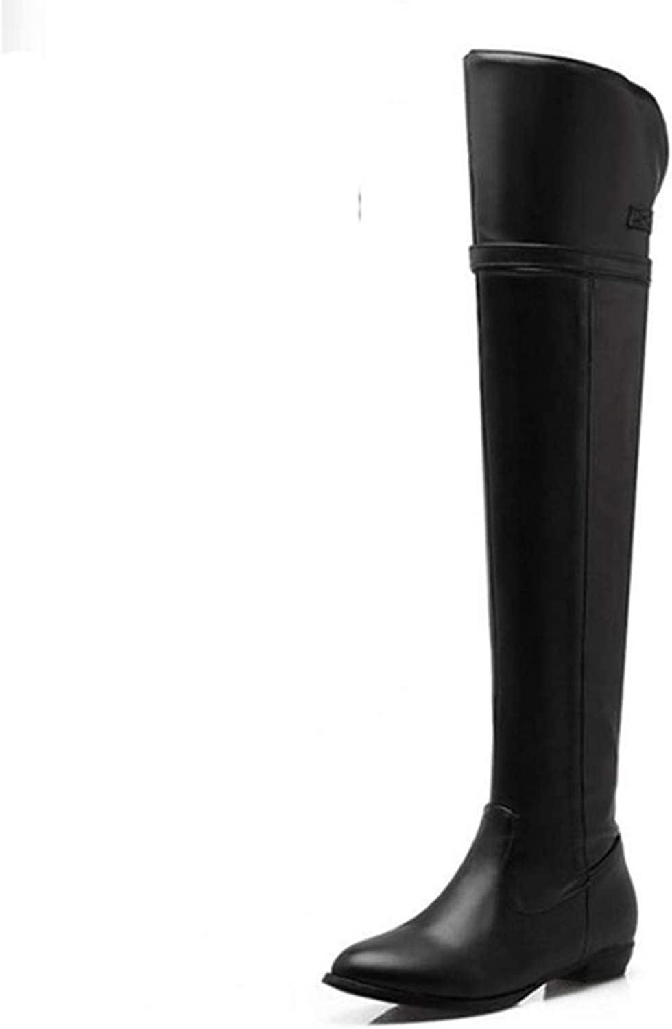DOSOMI Women's Fashion Concise Stretchy Zipper Round Toe Metal Buckle Flats Over The Knee Boots
