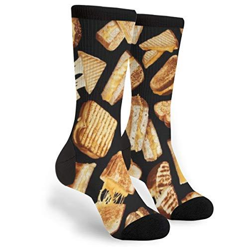 Unisex Fun Novelty Crazy Crew Socks Grilled Cheese Dress Socks