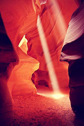 Vliestapete - Antelope Canyon mit Sonnenstrahl - Vintage 180x270 cm - Tapete Wandbild Bildertapete - Landschaft Schlucht aus Sandstein